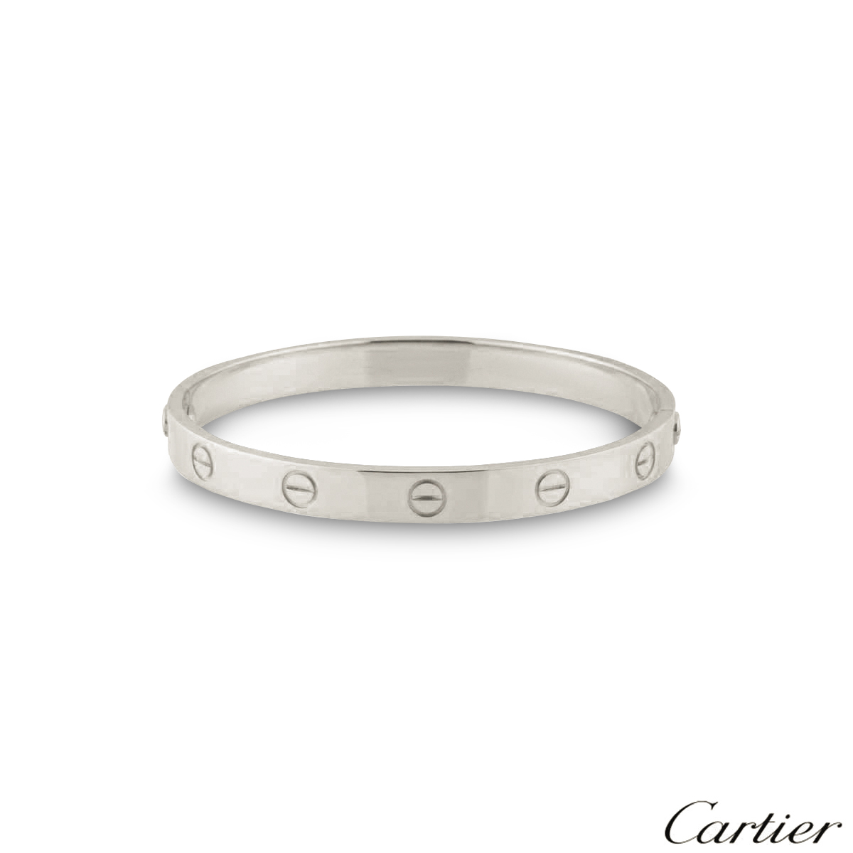 Cartier Platinum: Cartier Platinum Plain Love Bracelet Size 18 B6035718
